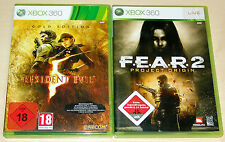 2 XBOX 360 SPIELE SET - RESIDENT EVIL 5 GOLD EDITION & F.E.A.R. 2 PROJECT ORIGIN