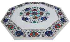"15"" White Marble Coffee Top Table Lapis Carnelian Gems Inlay Furniture Decor"