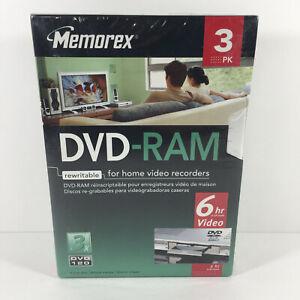 Memorex 4.7GB DVD-RAM - 3 pkg - New & Sealed - Home Video - Rewritable - Blank