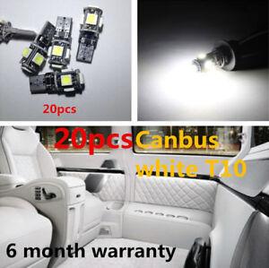 20pcs White CANBUS ERROR FREE T10 5-SMD 5050 LED Interior Light Bulbs For Car