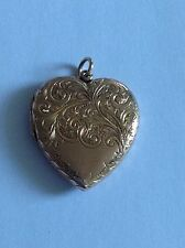 Charming Fine Edwardian 9ct Rose Gold Engraved Heart Locket