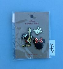 Disney - Junk Food Mickey Mouse & Minnie logo with bow (3 Pin Set) New
