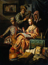 REMBRANDT MUSICAL ALLEGORY ARTIST PAINTING HANDMADE OIL CANVAS REPRO ART DECO