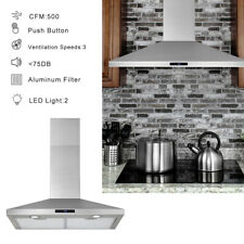 """30"""" Wall Mount Range Hood Stainless Steel Top Vent Filter Touch Control 500 Cfm"""