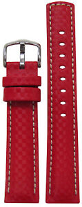 18mm Hirsch 'Carbon' Red Synthetic Watch Band w White Stitching 120/80 18/18