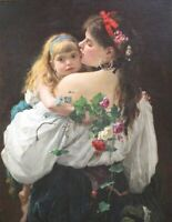 "stunning  oil painting handpainted on canvas ""Mother and daughter"""