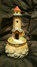 Collectible Handpainted Ceramic Lighthouse Hinged Trinket Box