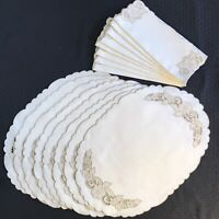 Vintage Linen Table Linen Set Napkins Placemats Embroidered Cutwork Scalloped