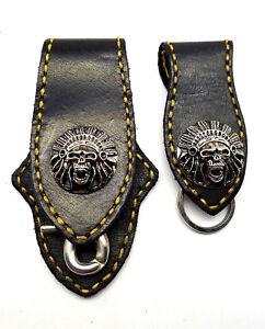 Biker Skull Indian Trucker Gold Stitch Leather Belt Clip Key chain Holder Set