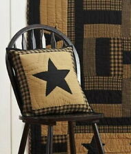 """DELAWARE BLACK STAR PILLOW : 16"""" QUILTED COUNTRY PRIMITIVE RUSTIC TOSS CUSHION"""