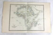 1846 Antique Map of Africa African Rare Hand Coloured Engraving 19th Century