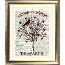 DICTIONARY ART PRINT ON ANTIQUE BOOK PAGE Shabby Chic Bird TREE HEARTS HOME old