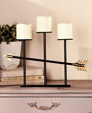 Gold Tone Trio Candles On Arrow LED Candles Contemporary Modern Office Candles