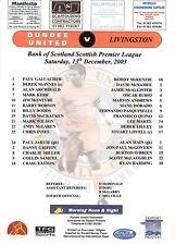 Teamsheet - Dundee United v Livingston 2003/4