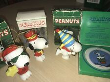 Lot 4 Vintage Peanuts Snoopy Willitts Christmas Ornaments wBox Signature Series