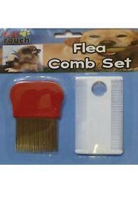 Dog Cat Pet Flea Metal & Plastic Comb Set with Magnifier