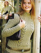 """Mesdames ~ Long-Pull/Cardigan ~ Dentelle ~ Épais ~ KNITTING PATTERN ~ Taille 32-42"""" (A148)"""
