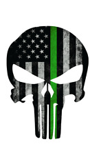 Thin Green Line Punisher Skull Decal Army Car Truck Military Jeep Sticker TGL