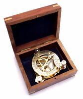 "Captain's Brass Triangle Sundial Compass 3.2"" - Brass Desk Compasses AIVBT301"