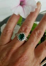 Gorgeous Oval Cut Teal Green Flourite Star Halo Ring, Sterling silver, Size 9