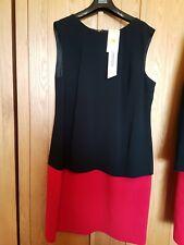 MARKS SPENCER RED BLACK COLOURBLOCK DRESS  SIZE 16 RRP £45
