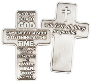 Metal Pocket Cross - Talk With God - Carrying Cross - Religious Gift New