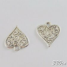 60pcs Vintage Silver Alloy Engraving Heart Pendants Charms Crafts Finding 50659