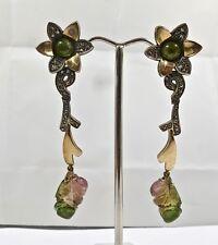Multi Tourmaline Carved Diamond 18K Gold 925 Silver Victorian Earring