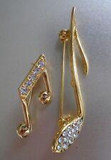 Vintage Gold & Rhinestones Musical Notes Brooch Pins Set of 2
