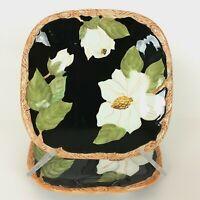 "ARTIMINO Magnolia Charm Square Luncheon Plate 8 7/8"" White Flower on Black Set/2"