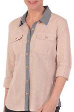 GRAMICCI Stella HEMP Organic COTTON Stripe BUTTON DOWN Collar SHIRT Womens LARGE