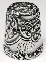 "Antique Simons Bros. Sterling Silver Thimble  ""Scroll Chased Top""  ""EWN""  C1890s"
