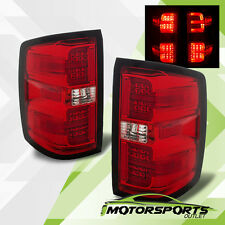 2014-2017 Chevy Silverado 1500 2500 3500 LED G2 Red Clear Brake Tail Lights Pair