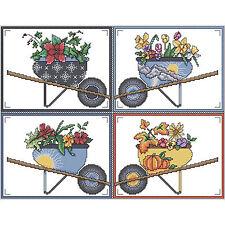 Cross Stitch Kit ~ Vickery Collection Wheelbarrow Seasons #2121