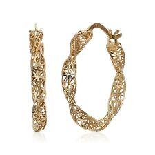 Earrings in 10K Gold Eternity Gold Twisted Mesh Hoop