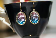 Vintage German geode bumpy two toned cuba glass deco antiqued brass earrings