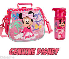 Authentic Disney Minnie Mouse Kids Water Bottle and Tote Lunch Bag New
