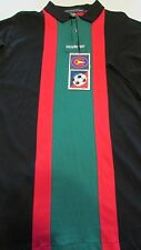 Nwt Mens Sz L Black Polo Coloursport Short Sleeve Soccer Stripe Shirt A. Julian