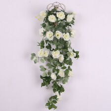 Artificial Rose Silk Flower Garland Ivy Vine Outdoor Indoor Hanging Decor White