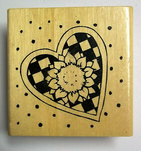 Heart with Sunflower  2-1/4 Inches square Wood-mounted Rubber New