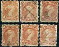 Canada #25,25i used Faulty 1868 Queen Victoria 3c red/orange red Large Queen x6