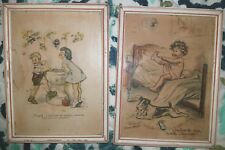 2 Vintage Germaine Bouret Colored Litho Print Girl Boy & Dog