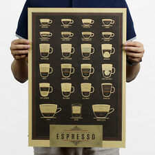 All Kinds Of Coffee Cups Poster Kraft Paper Design Home Interior Cofe Bar