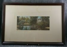 WALLACE NUTTING Colorized Photo THE SWIMMING POOL - Original Mat & Frame 18 x 12