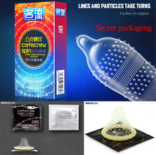 Lots 10Pcs Male Latex Condoms Sensitive Ribbed Dotted G-spot Lubricated Condoms