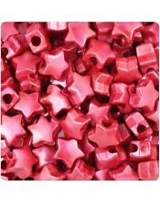 50 Red Pearl Star Shape 12mm Pony Beads Top Quality Pony Beads