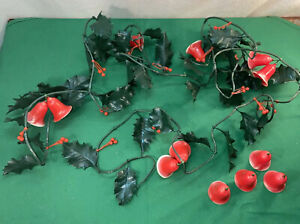 Vtg Mid-Century MERRY CHRISTMAS Red Bell Plastic HOLLY Green Sprigs Garland 12ft