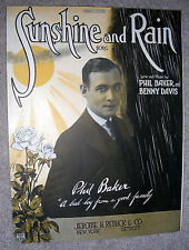 1922 SUNSHINE AND RAIN Vintage Sheet Music by PHIL BAKER, Benny Davis