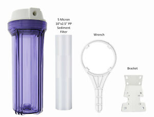 """Clear 10""""x2.5"""" Water Filter Housing System (1/4 FPT) with Sediment Filter Wrench"""