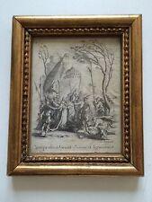 Gravure VELIN J.CALLOT PASQUIER XVII XVIII BAISER JUDAS CADRE BOIS DORE 17x14cm